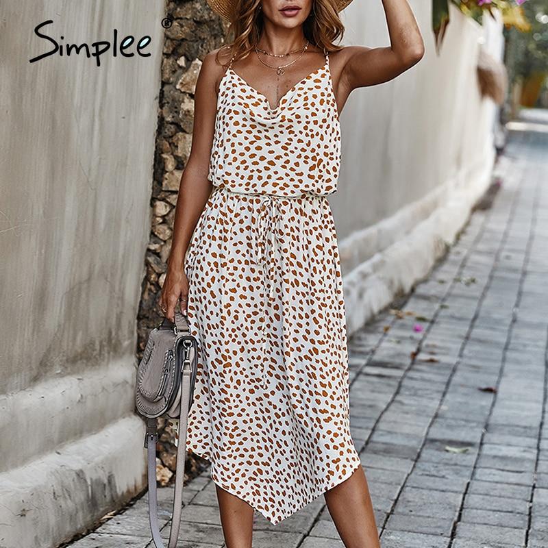 Simplee Bohemian Dot Print Summer Dress Women Lace Up Waist Female Midi Dress A-line Holiday Wear Asymmetrical Ladies Dress 2020