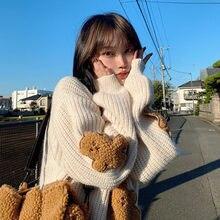 Mode automne printemps femmes mignon fête ours mignon Kawaii Chic doux nouvelle corée étudiant Style haut femme chandails décontracté és