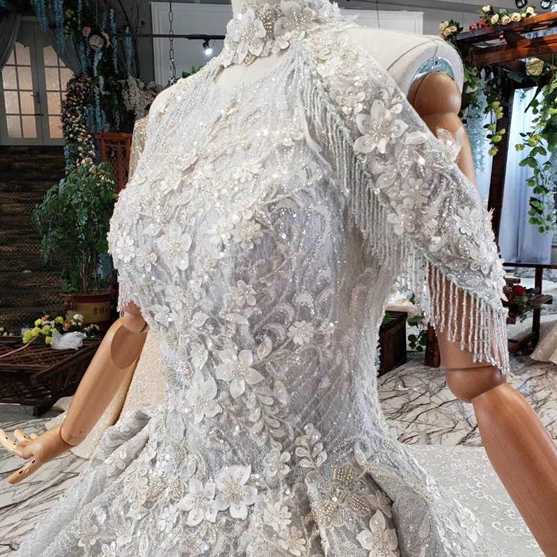 HTL691 бальное Вечернее платье со шлейфом Высокая цепочка для ошейника аппликации бисером Роскошные Длинные платья для выпускного вечера плюс размер vestiti da sera