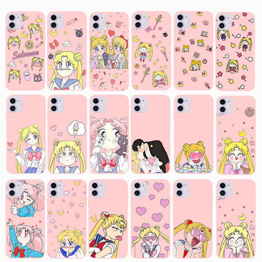 Pink Japanese Anime Kawaii Sailor Moon Case untuk iPhone 11 Pro Max X 6 6 S 7 7 Plus X XR XS Max Melawan Seperti Gadis Silicone Cover