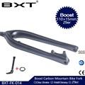 BXT Full Carbon MTB Fork Boost 110*15mm 29er mountain bike fork 29inch disc brake Tapered 1-1/8 to1-1/2 Thru Axle fork
