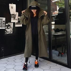 Image 2 - LANMREM Army Green Hooded Long Sleeve Pocket Single Breasted Loose Windbreaker Woman Casual Fashion 2020 Spring Coat New TV863