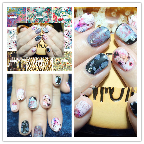 Top Form Brand Manicure Watermarking Adhesive Paper Flower Stickers Nail Sticker South Korea Nail Sticker DLS337-352