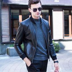 2020 New Autumn Winter Men Large Size L-4xl Outwear Male Sheepskin Slim Aviation Genuine Leather Bomber Motorcycle Jacket D93
