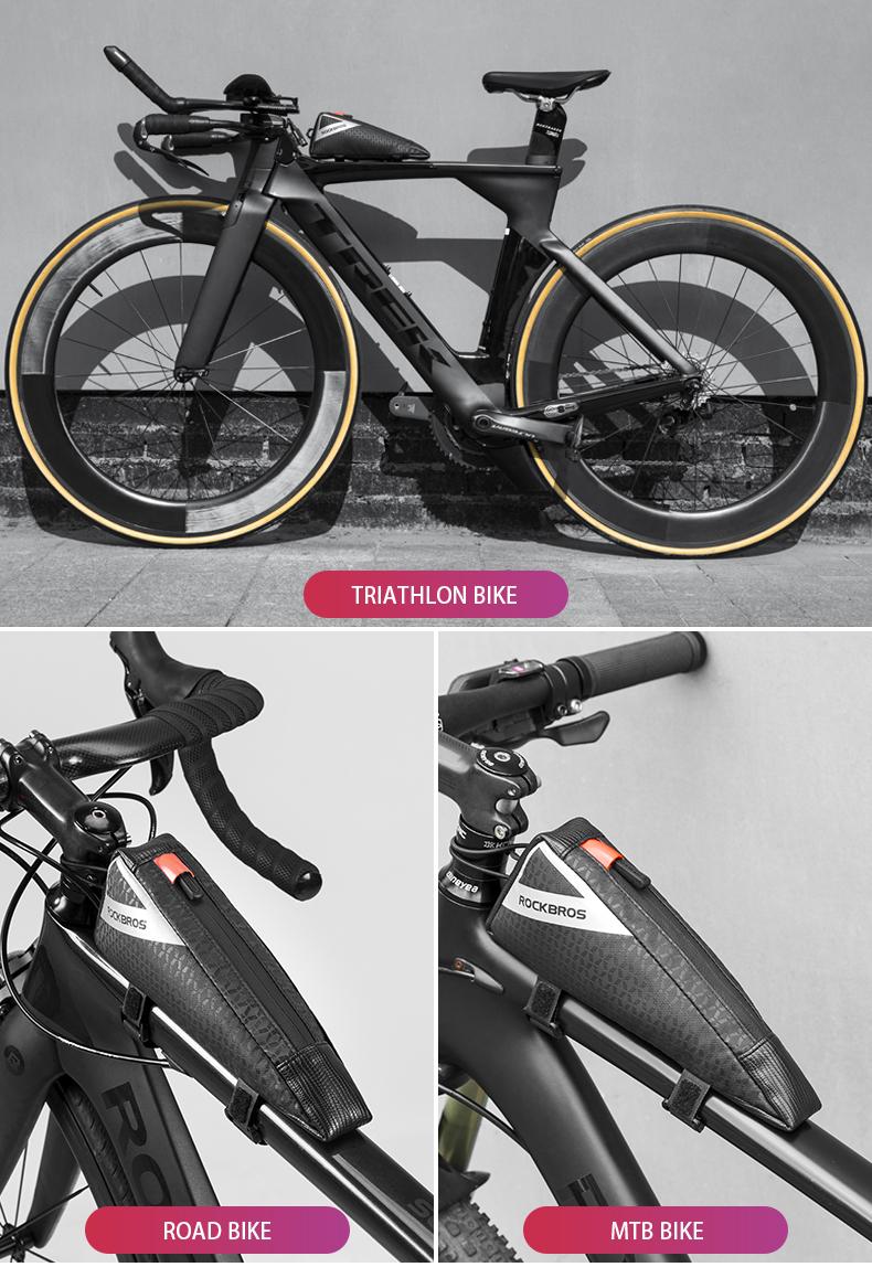 ROCKBROS Cycling Bike Top Tube Frame Triathlon Bike Black Triangle Bag-Unicorn