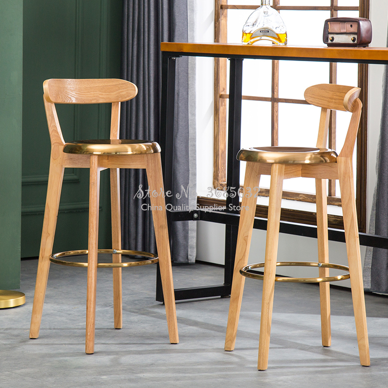 European Golden Bar Stools Solid Wood High Stools Modern Minimalist Salon Chair Metal Steel Bar Chairs Bearing 200kg