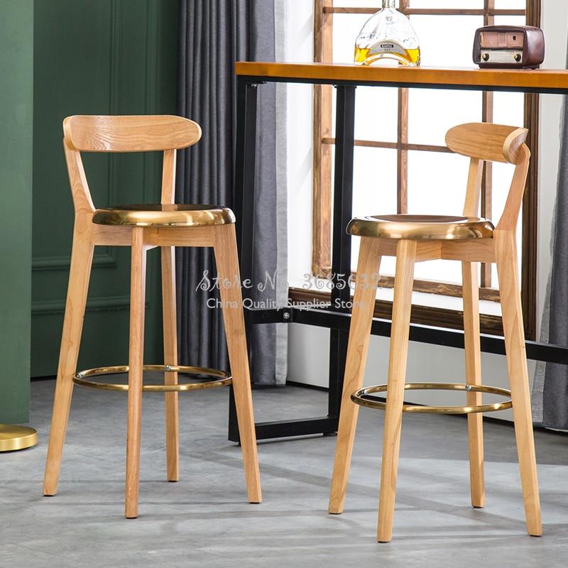 European Golden Bar Stools Solid Wood High Stools Modern Minimalist Salon Chair Metal Steel Bar Chairs Bearing 200kg