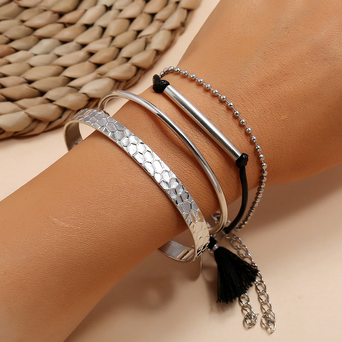 4 Pcs/Set Metal <font><b>Tube</b></font> Black Tassel Rope Hand Chains Female Circle Round Open Bangle&<font><b>bracelets</b></font> for Women <font><b>Silver</b></font> Color Simple New image