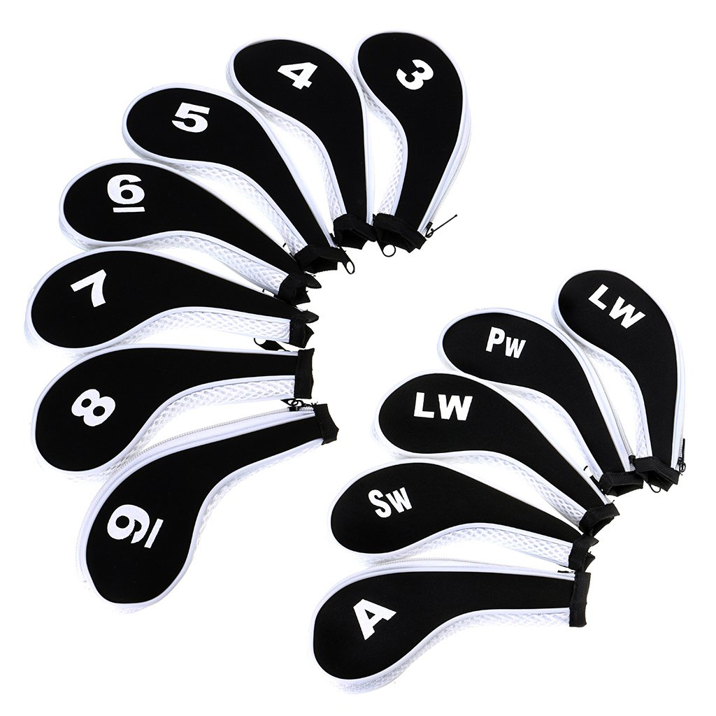 Number Print Golf Club Irons Covers Zippered Driver Head Cover With Long Neck-Set Of 12