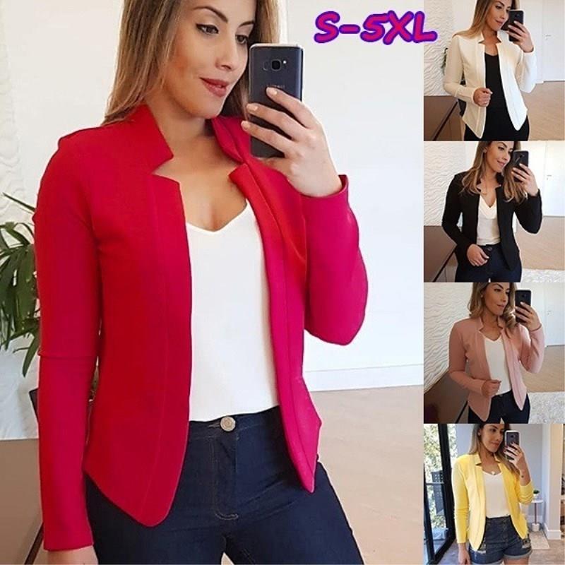 Autumn Fashion Jacket Women Solid Color Short Suit Coat Long Sleeve Casual Slim Elegant Business Office Ol Coat