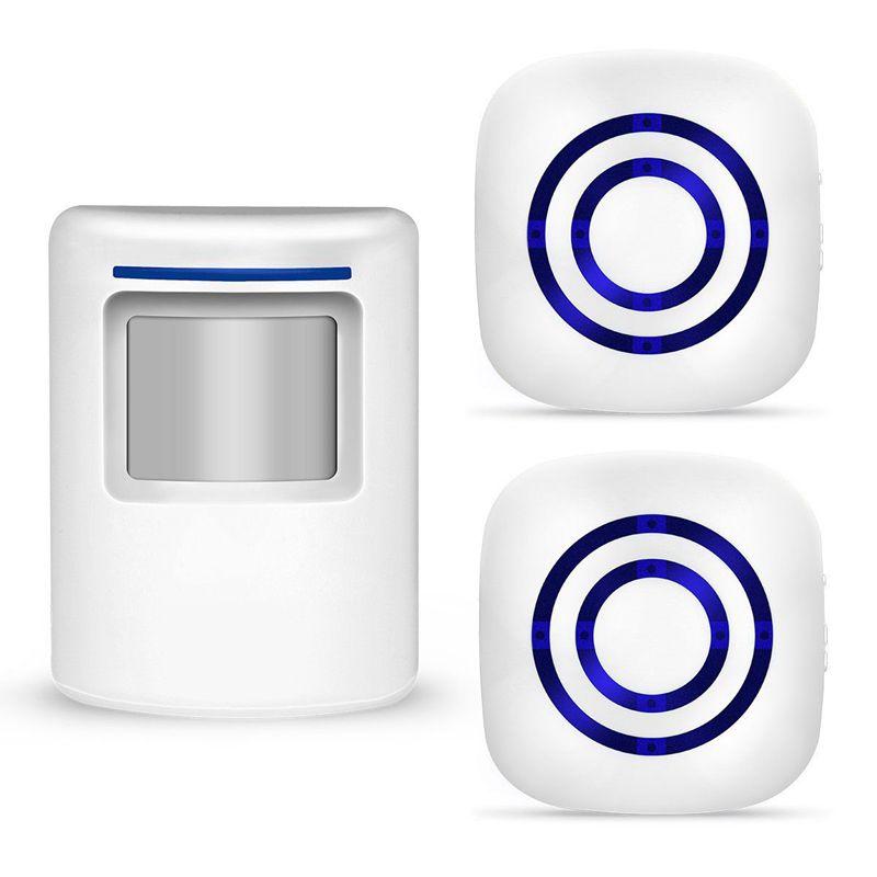 ABKT-Wireless Motion Sensor Detector Gate Entry Visitor Door Bell Chime Alert Alarm Home Security Alarm LED Indicators US Plug