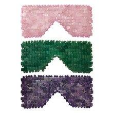 Rose Quarz Cooling Eye Maske Natürliche Jade Auge Maske Kalten Therapie Auge Massager Amethyst Schlaf Masken Stein Massage Entspannung