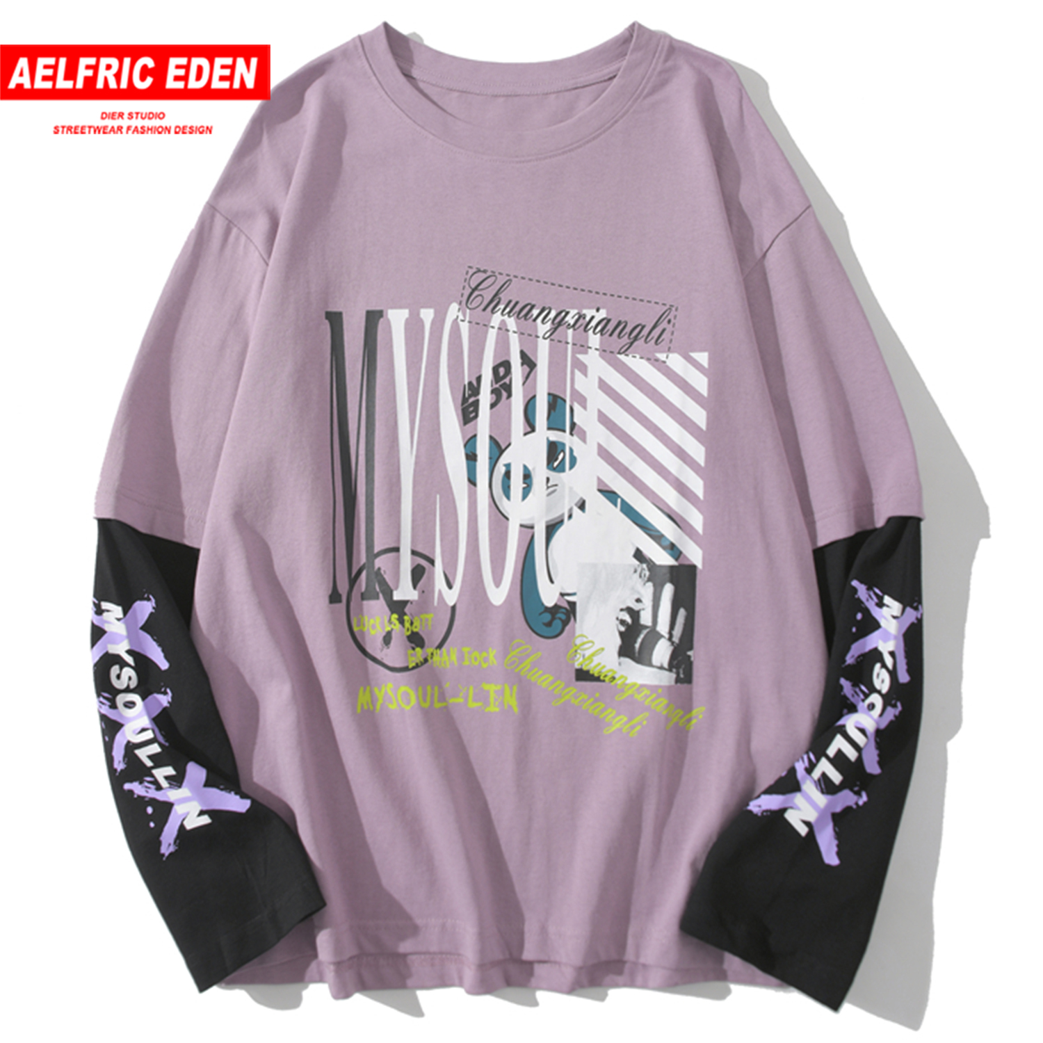 Aelfric Eden Fake Two Pieces Bear Print Sweatshirts Men  Hip Hop Pullover Loose Patchwork 2020 Casual Male Long Sleeve Oversized