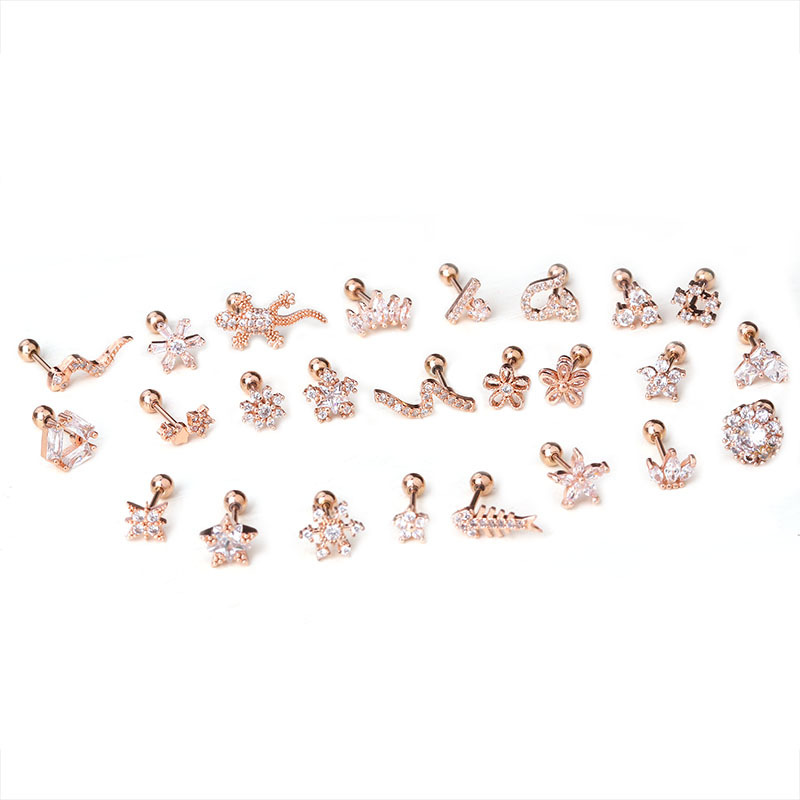 25Pcs/Lot Helix Piercing Jewelry Conch Rook Lobe Tragus Stud New Rose Gold Color Plants And Animals Cz Cartilage Earring