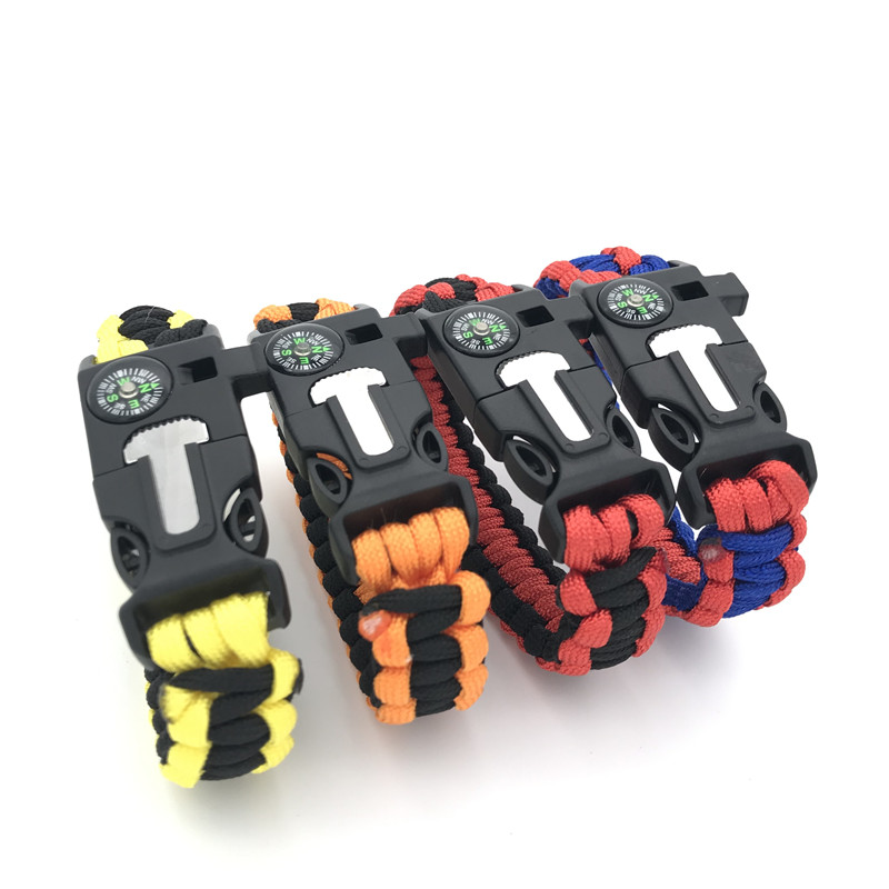 Outdoor Safety Survival Paracord Bracelet Functional Whistles Compass Serrated Knife Emergency Camping Parachute Without Flint