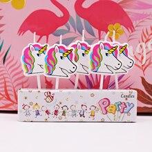 5 шт. вечерние свечи в виде единорога/фламинго для дня рождения, Детские вечерние свечи для торта, вечерние свечи в виде единорога, украшения для торта своими руками