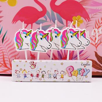 5 sztuk Cartoon jednorożec Flamingo świece urodziny baby shower kids party świeczki na tort impreza jednorożec DIY ciasto dekoracje tanie i dobre opinie Kolorowe płomień H682 Parafina Art świeca Ogólne świeca Zwierząt Cake candle Unicorn candle Flamingo candle Birthday party cake decorations