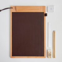 Wooden Document Board Clip A4 Writing Painting Pad Office Supplies Speech Menu Clip Leather Writing Board