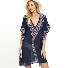Plus size Chiffon Embroidery Beach Cover up Pareos de Playa Mujer Sarong Swimsuit cover Tunics for Kimono Dress