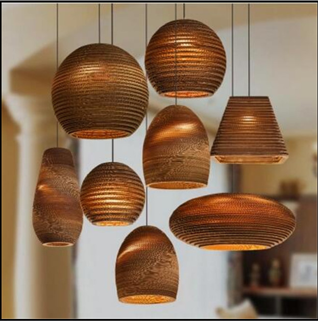 Honeycomb Naked Pupa Restaurant Lamp Cafe Paper Lamp Thai Bar Southeast Asian Style Silkworm Pupa Corrugated Paper Chandelier