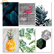 Scandinavian Green Leaf Canvas Poster Nature Nordic Style Flamingo Wall Art Print Painting Decorative Picture Living Room Decor(China)