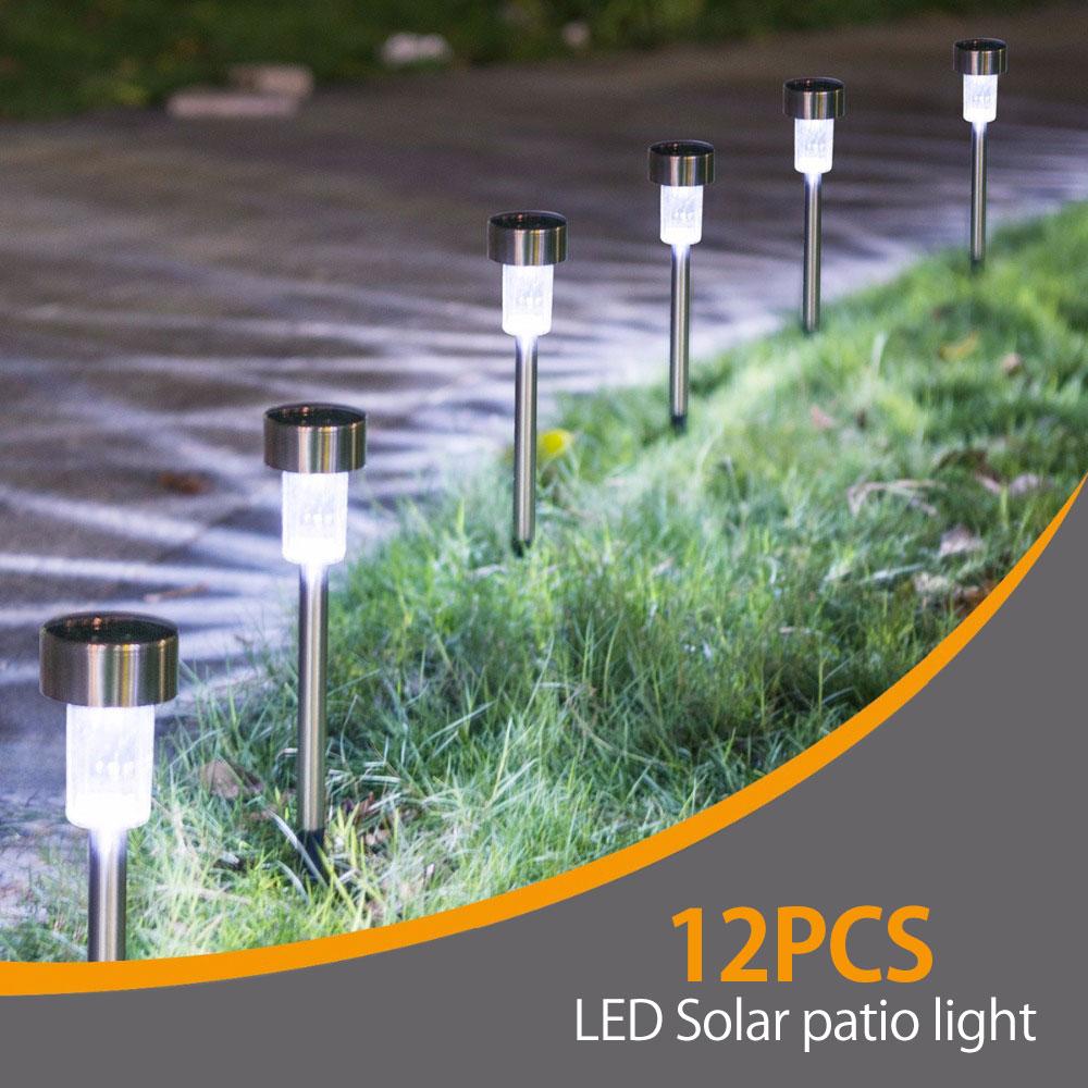 12 pcs led ao ar livre luz solar a terra 14000 k jardim ao ar livre