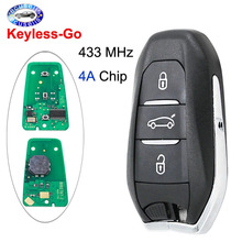 Keyless Go 3B Smart Remote Key 433MHz 4A Chip for Citroen C4 C4L for Peugeot 208 308 508 3008 5008 with emergency key HU83