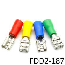 FDD2-187 Female Insulated Electrical Crimp Terminal for 16-14 AWG Connectors Cable Wire Connector 100PCS/Pack FDD2-187 FDD 500 pcs blue 16 14 awg nylon female flag terminal right angle electrical connector