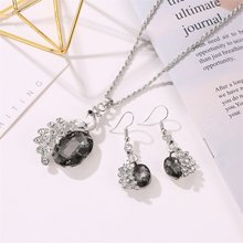 New Ladies Diamond Jewelry Set Decorations Suit Personality Peacock Gems Necklace Earrings Bride Decoration