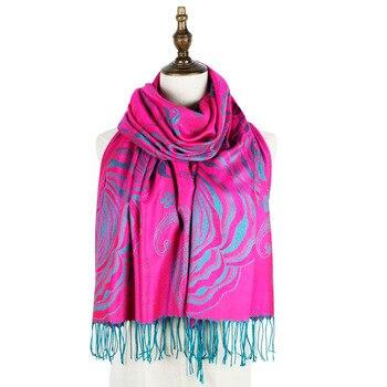 pashmina jacquard scarf rayon stole long fashion fringe floral ladies wraps shawls scarves women cape shawl