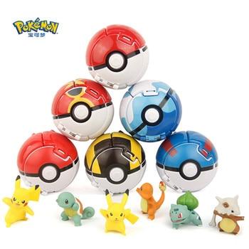 TAKARA TOMY 7CM Pokemon Elf Ball Pikachu figure Pokeball Monster Variant Toy Action Figure model Educational Toys gift недорого