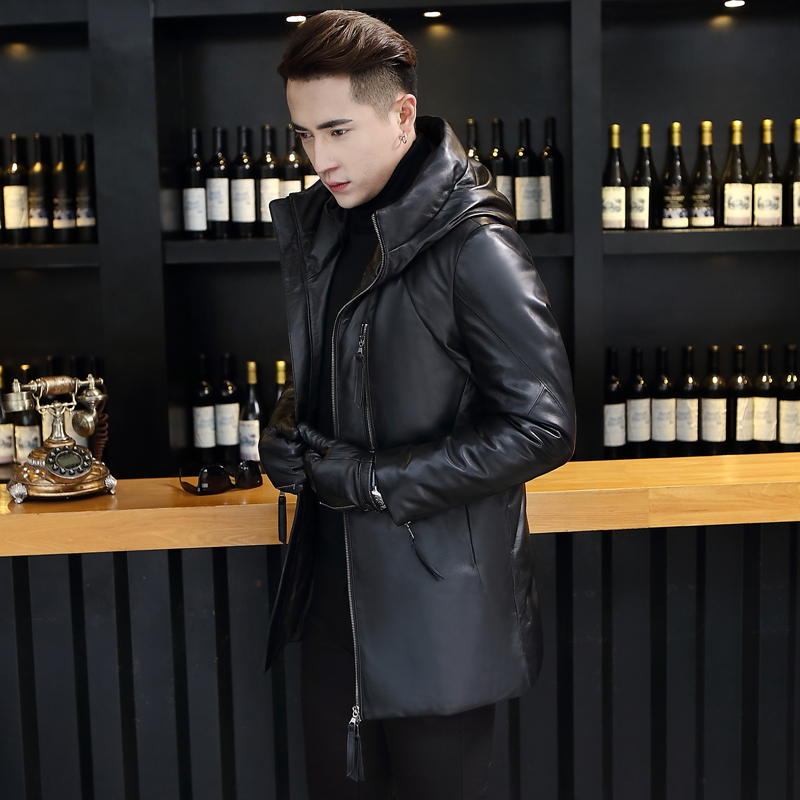 Genuine Leather Jackets For Men Winter Warm Thick Hooded Down Coat 2020 Top Quality Plus Size Outwear 1622 MF419