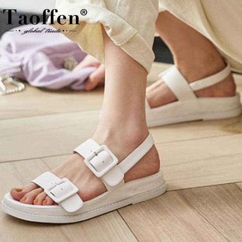 Taoffen Sandals Designer Footwear Buckles Shoes Women Flat-Heels Real-Leather Lady Size-34-40