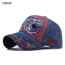 USPOP 2019 women men baseball caps Shark embroidered cap pure Cotton 3D letter stereo embroidery hat visor