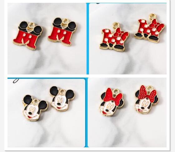 Lot new Cartoon Minnie Metal Charms Jewelry Making Pendants Earrings
