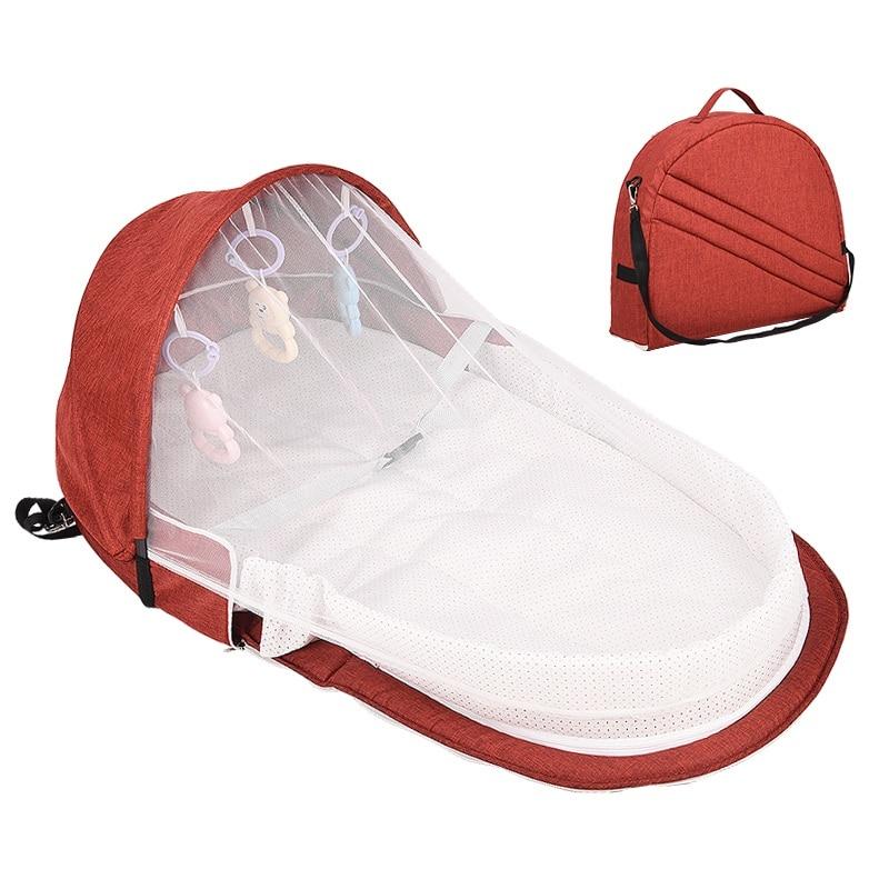 Переносная кровать с игрушками для малышей, складная детская кровать для путешествий, защита от солнца, сетка от комаров, дышащая корзина для сна для младенцев - Цвет: R