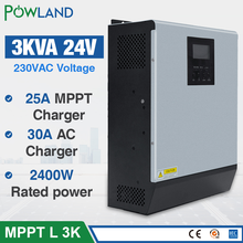 3KVA falownik solarny 2400W 24V 220V hybrydowy falownik czysta fala sinusoidalna wbudowany solarny regulator MPPT ładowarka inversor słonecznej