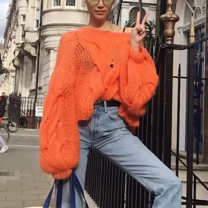 Misswim Casual Loose Mohair Women Pullover Autumn Winter Oversized Sweater Female Lantern Sleeve Orange Sweater Jumpers Mujer