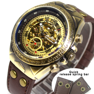 Image 2 - Mechanical Watches Steampunk Bronze Automatic Watch Men Vintage Transparent Skeleton Watch Man Clock montre homme Ship 24 Hours