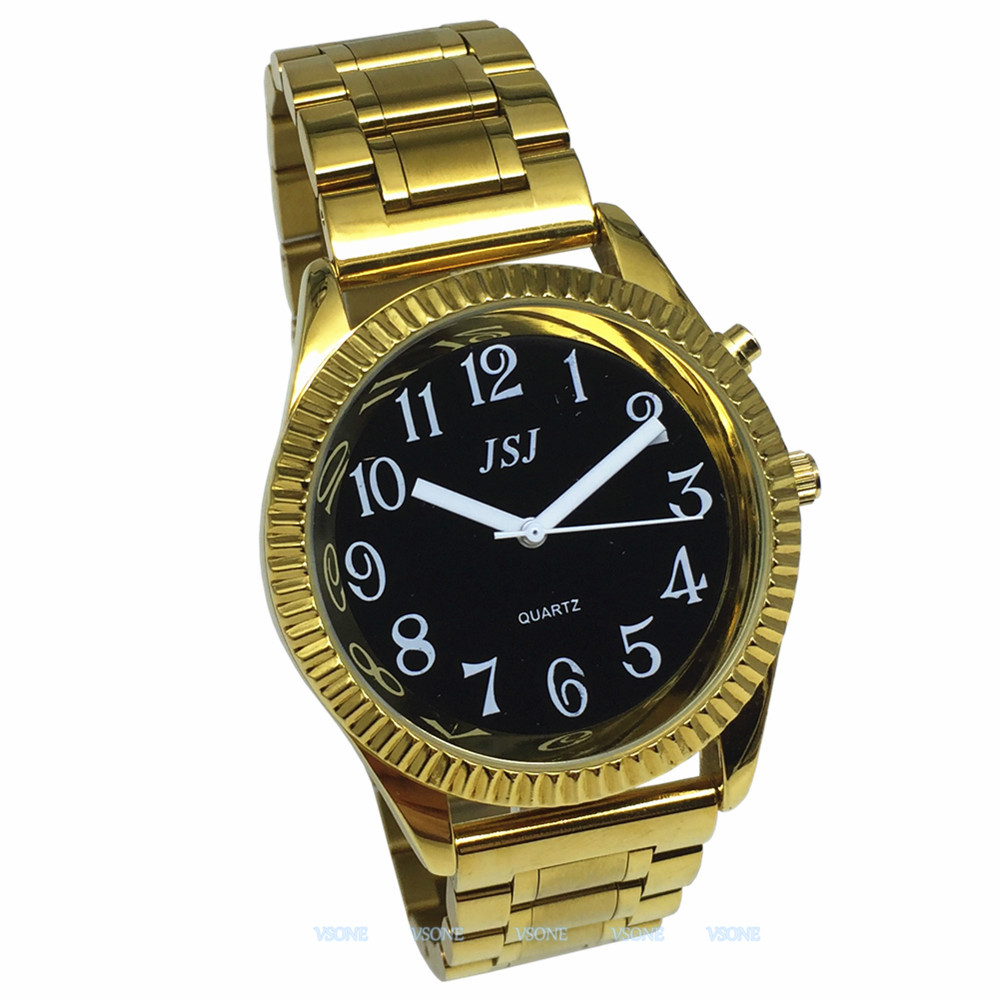 English Talking Watch With Alarm Function, Talking Date And Time, Black Dial, Folding Clasp, Golden Case TAG-308
