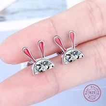 Женские серьги с кроликом простые милые из стерлингового серебра