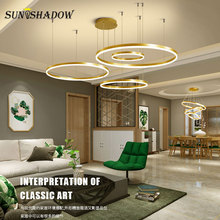 Gold&Coffee Lustres Modern Led Chandelier Circel Ceiling Lighting For Living room Dining Hotel Fixtures