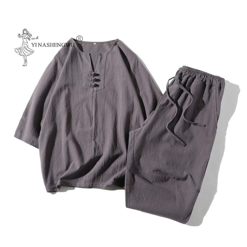 Japanese Style Kimono Short-Sleeved T-shirt Pants Two Piece Men Tops Trousers Suits Male Japan Harajuku Yukata Cardigan Costume