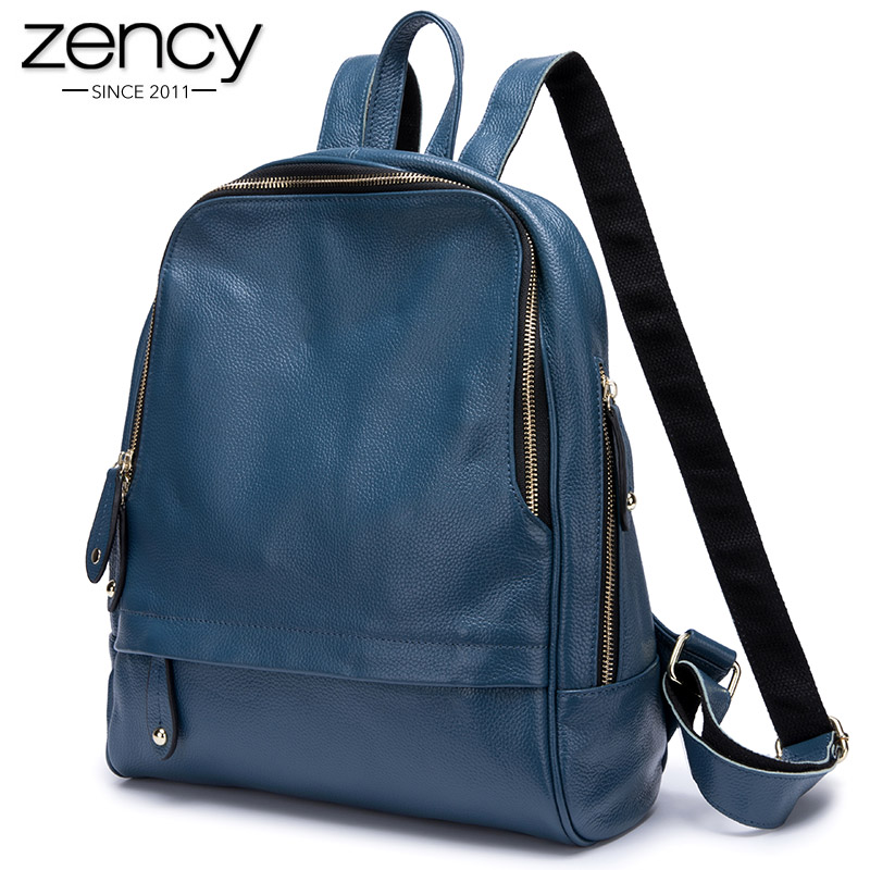 Zency 100% Real Leather Fashion Blue Women Backpack Large Capacity Holiday Knapsack Preppy Style Girl's Schoolbag Big Travel Bag
