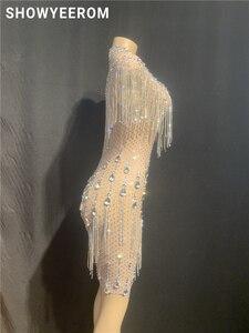 Image 3 - Robe en pierres de fête danniversaire pour femme, robe en cristal à franges transparentes, en maille, Costume de danse, boîte de nuit, jupe courte