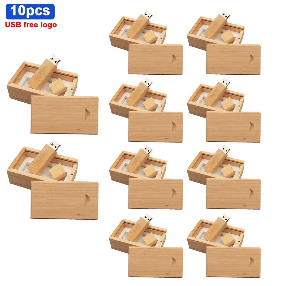 10pcs/lot Free Custom Logo Wooden Usb Flash Drive Pen Drive 64gb 32gb 16gb 8gb 4gb Usb 2.0 U Disk Memory Stick for Special Gift