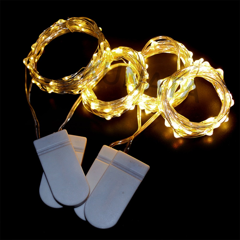 2M 4M Silver Wire LED String Lights 20LED 40LED Holiday Lighting Fairy Garland For Christmas Wedding Party Decor Battery Powered