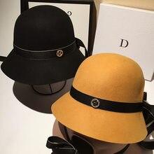 Automne et hiver nouveau rétro noir laine chapeau haut-de-forme de haute qualité web célébrité tout-match jazz chapeau mode simple nœud chapeau chaud