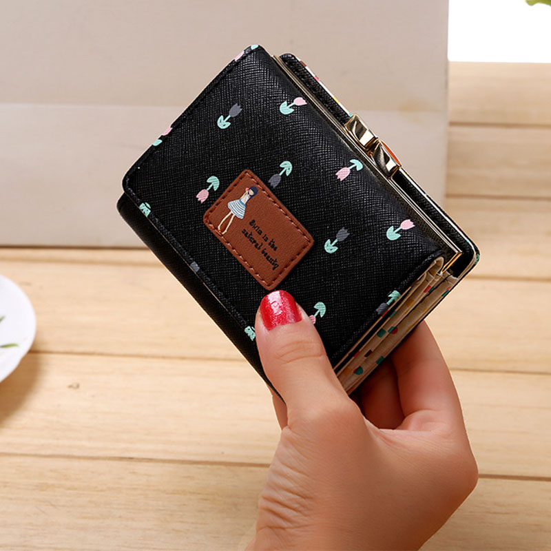 2019 Leather Wallet Women Lady Short Coin Pouch Women's Purse New Kawaii Girl Small Change Wallets Coin Bag 3 Fold Coin Purse