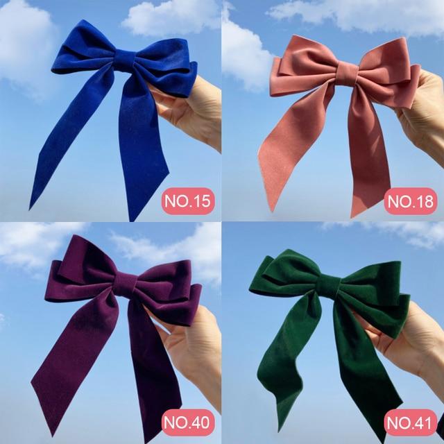 17KM Vintage Black Big Large Velvet Bow Hair Clip For Women Girls Wedding Long Ribbon Korean Hairpins Barrette Hair Accessories 6